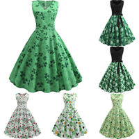 St. Patrick's Day Women's Clover Sleeveless Evening Print Party Prom Swing Dress