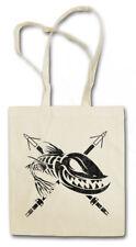Dead Grinning fish Shopper Shopping Bag fishing Fisher Gone fishing rod pole