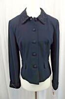 NEW Talbots Womens Blazer Jacket 8 Coat Suit Jeweled Bling Dress Business Navy