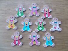 10 CHRISTMAS GINGER BREAD MAN  Wooden Buttons Scrap book Crafts Sewing