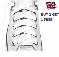 Flat Shoes Boot Laces Trainer Laces 10mm wide Buy 2 Get 1 Free White