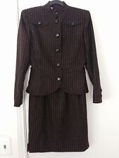 VALENTINO BOUTIQUE Vintage Brown Pin Striped Jacket/Skirt Suit 6