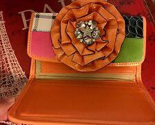 $290 Dolce Sinfonia Wallet ORANGE Flower Swarovski Stones Beverly Hills Fashion