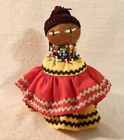 """Charming Seminole Native American Girl Doll, 5"""" Tall; Palmetto Fiber & Cloth"""