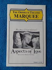 Aspects Of Love - Orpheum Theatre Playbill - February 1993 - Barrie Ingham