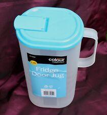 1 x 1.8 L Blu Porta Frigorifero Brocca & Coperchio Caraffa Contenitore Latte Succo Acqua in Plastica