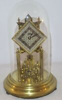 Vintage Working 1952 SCHATZ Germany Brass & Glass Dome 400 Day Anniversary Clock