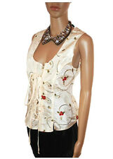 Womens Formal Embroider Floral Tailored Evening Sleeveless Blouse sz 14 16 AC20
