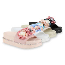 Damen Pantoletten Plateau Sandaletten Blumen Schlappen Nieten 830274 Schuhe