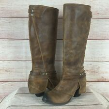 Fergie Lattitude Brown Leather Cuff Knee High Side Zip Riding Boots Sz 8.5 M