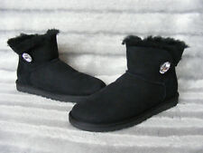 New Ladies UGG 1003889 Mini Bailey Button Bling Black Boots UK 4.5 1/2 EU 37