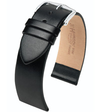19MM Hirsch Wild Calf Genuine Leather Watch Band Strap Black Leather Large