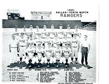 1961 DALLAS FORT WORTH RANGERS ANGELS 8X10 TEAM PHOTO BASEBALL  TEXAS USA