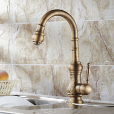 Luxury Art Antique Brass Kitchen Sink Mixer Tap Single Hole Swivel Spout Faucet