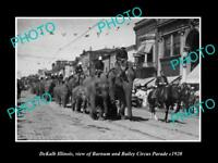 OLD POSTCARD SIZE PHOTO DEKALB ILLINOIS, BARNUM & BAILEY CIRCUS PARADE c1920