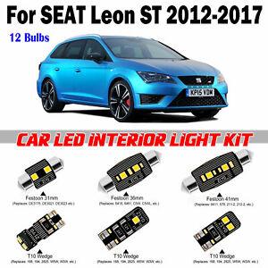 12 Bulbs Deluxe Xenon White LED Interior Light Kit For Seat Leon ST 2012-2017