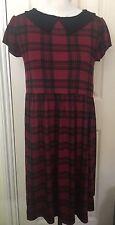 BNWT Boohoo Red Check Collar Skater Short Sleeve Dress UK10