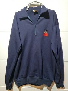 Vintage Tetley's Bitter Long Sleeve T Shirt Size S/M Embroidered Navy Blue