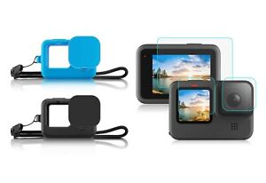 GoPro HERO 9 Silicone Rubber Protective Case + Tempered Glass Protectors HERO9