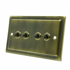 AET VAB4GTOG 10 a 4 Gang 2 Way Victorian Antique Brass Dolly Light Toggle Switch