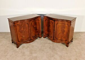 Pair Antique Baker Chippendale Mahogany Locking Serpentine Servers Commodes