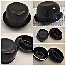 Vintage Novelty Butter Dish trinket dish Black Bowler Hat Pottery
