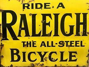 RALEIGH Bicycle retro vintage metal wall sign plaque GARAGE WORKSHOP BIKE DECOR
