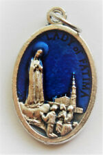"""Blue Our Lady of Fatima /  Pray for Us Oxidized Medal (7/8"""" x5/8"""")"""