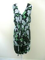 ASOS dress size 12 black green white unusual front tie feature flare panel smart