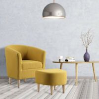 Yellow Modern Accent Chair Single Sofa Furniture Set with Ottoman Upholstered
