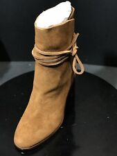 New POUR LA VICTOIRE Brown Suede Irona Ankle Boots Cylinder Heel Size US 7 M