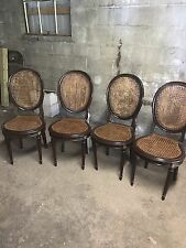 4 Antique Victorian Style Cane Chairs Mahogany With Gold Insets