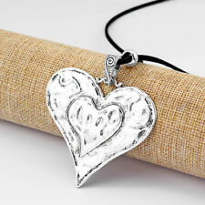 Large Antique Silver Abstract LOVE Hearts Pendant Long Suede Leather Necklace