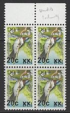 FIJI SGF1331a 2007 20c on 6c BIRDS TYPE Ib SURCHARGE INVERTED MNH BLOCK OF 4