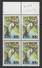Figi SGF1331a 2007 20c su 6c Birds tipo IB supplemento invertito Gomma integra, non linguellato blocco di 4