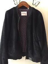 Women's O'Neill Black Fluffy Bomber Jacket - Size XL (14) Vintage Retro