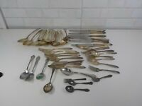 lot of Vintage To Antique Silver Plate Flatware Flat Rate Shipping
