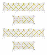 Gold And White Geometric Quatrefoil Trellis Baby Girls 4 Piece Crib Bumper Pad