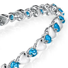 925 Sterling Silver Blue Topaz Heart Shaped Cubic Zirconia Puff Tennis Bracelet