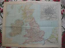 1919-1922 Atlas Schrader Carte couleurs lithographie Iles Britanniques