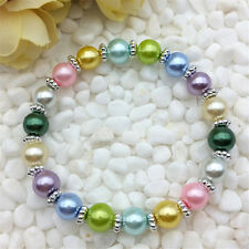Wholesale fashion jewelry Mixed 8mm glass pearl stretch beaded bracelet DIY