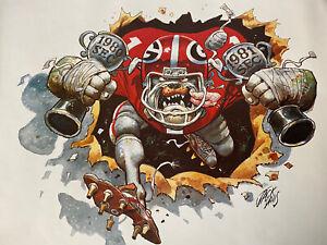 University of Georgia Bulldogs Football 80-81 SEC CHAMPS Jack Davis 20x26 print