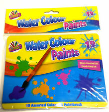 VERNICE Colore Acqua Set Box per Bambini ARTE Craft 12 COLORI ASSORTITI SET paintbursh