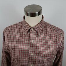 LL Bean Mens Wrinkle Resistant LS Button Down Red Beige Plaid Dress Shirt Large