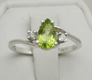 Peridot .90 ct - 8x5mm Pear With Accents - Ring Size 6.75 - Sterling Silver