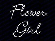 "Diamonte Hotfix Wedding Transfers Rhinestones iron on Motif "" Flower Girl "" - S1"