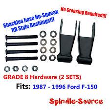 "87 - 1996 Ford F150 1"" 2"" Rear Lowering Drop Shackles GRADE 8 Kit RB Bushings"