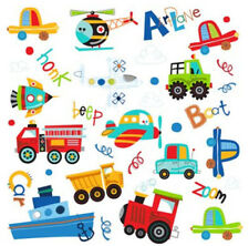 TRANSPORTATION wall stickers 34 decal car truck airplane boat rocket train cloud