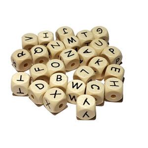 Hell Natur Buchstabenwürfel, Buchstaben geprägt f Schnullerketten nach Wahl A-Z