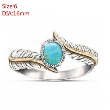 Fashion Bohemia Turquoise Feather Ring Jewelry Gift Cocktail Party Wedding Ring 6